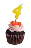Mini queque com vela do aniversário Imagens de Stock Royalty Free