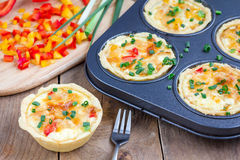 Mini quiche with chicken and pepper Royalty Free Stock Photo