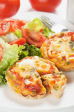 Mini Quiche Lorraine with vegetables Stock Photos