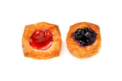 Mini raspberry and blueberry danish on white Stock Image