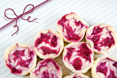 Mini raspberry cheesecakes in muffin forms Stock Photo