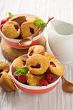 Mini raspberry muffins. With sour cream for breakfast Stock Photo