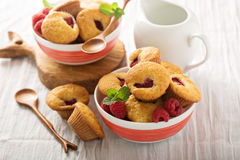 Mini raspberry muffins. With sour cream for breakfast Royalty Free Stock Images