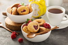 Mini raspberry muffins. With sour cream for breakfast Royalty Free Stock Image