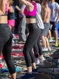 Mini Rebounder Workout: Flickor som gör kondition, övar i utomhus- grupp på idrottshallen Arkivfoton