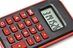 MIni red calculator isolated on white Stock Image