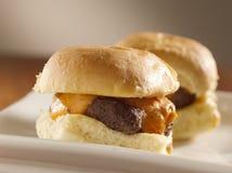 Mini resbaladores de la hamburguesa Imagenes de archivo