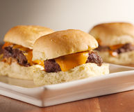 Mini resbaladores de la hamburguesa Fotografía de archivo