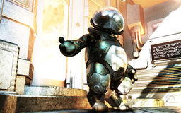 Mini Robot. A mini robot in a science fiction environment Royalty Free Stock Photography