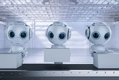 Mini robot with boxes. 3d rendering mini robot with boxes on conveyor line in factory stock photos