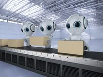 Mini robot with boxes. 3d rendering mini robot with boxes on conveyor line in factory royalty free illustration