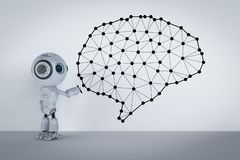Mini robot with brain. 3d rendering cute artificial intelligence robot with ai brain stock photo