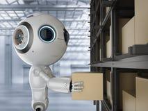 Mini- robot med asken royaltyfri illustrationer