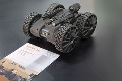 Mini robot. NIZHNY TAGIL, RUSSIA - SEP 25, 2013: The international exhibition of armament, military equipment and ammunition RUSSIA ARMS EXPO (RAE-2013). Remote Stock Photography