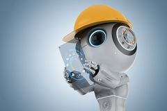 Mini robot with tablet. 3d rendering cute artificial intelligence robot with digital tablet royalty free illustration