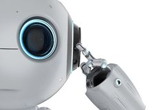 Mini robot think. 3d rendering cute artificial intelligence robot think or analysis stock illustration