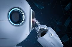 Mini robot think. 3d rendering cute artificial intelligence robot think or analysis royalty free illustration