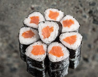 Mini roll with salmon Stock Images