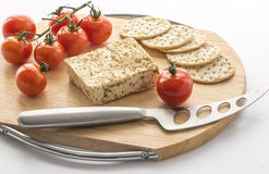 Mini Roma Tomatoes, Feta Cheese, Knife. Stock Photos