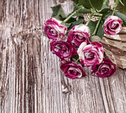 Mini roses. On vintage wooden surface Royalty Free Stock Photo