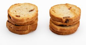 Mini round toasts of bread with raisins. Several units. royalty free stock photo