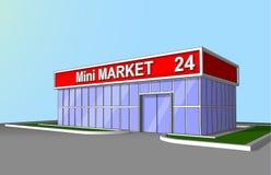 Mini rynku sklepu fasadowy detaliczny handel 24 godziny frontowego widoku Obrazy Royalty Free