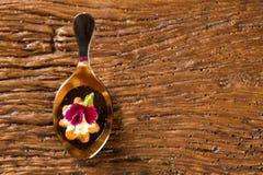 Mini słoni churros towarzyszący sosowaną kawową redukcją z Kombu w łyżce i faszerujący z kremowego sera candied pomarańcze, obraz royalty free