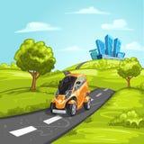Mini samochód na asfaltowej drodze Zdjęcie Royalty Free