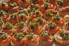Mini-sanduíches com um peixe vermelho do frio que fuma Foto de Stock Royalty Free