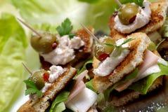 Mini sandwich avec du fromage et le jambon Photos libres de droits