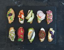 Mini sandwich set. Variety of small sandwiches on Stock Images