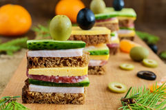 Mini sandwiches canape with fresh cucumbers, ham, cheese, olives, salami, black bread Royalty Free Stock Photos