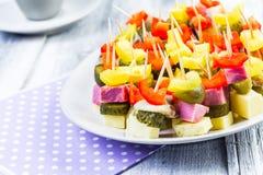 Mini sandwiches toothpicks appetizer Stock Image
