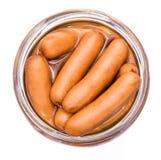 Mini Sausages isolated on white Stock Photos