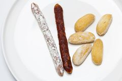 Mini chorizo and mini sausage to snack as an appetizer royalty free stock photo