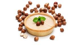 Mini scherpe hazelnoot en chocolade geïsoleerd op witte achtergrond Stock Afbeelding