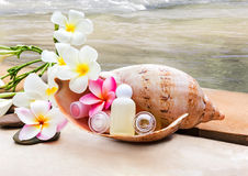Mini set of bubble bath and shower gel decorated in sea conch shell Royalty Free Stock Images