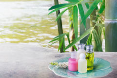 Mini set of bubble bath and shower gel liquid and frangipani flower on pebble rock and green nature relaxing sp Royalty Free Stock Image