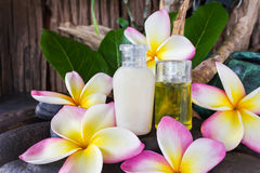 Mini set of bubble bath and shower gel liquid with pink white an. D yellow flowers plumeria or frangiani on pebble rock with green leaf and timber or wooden Royalty Free Stock Images