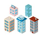 Mini set buildings isometric icons. Vector illustration design vector illustration