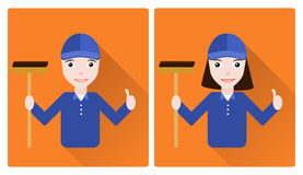 Mini set of two janitors. Men and woman Stock Photography