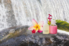 Mini setMini set of bubble bath and shower gel liquid with pink Royalty Free Stock Image