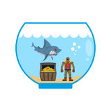 Mini shark in  Aquarium and  treasure chest. Scuba diver in old Royalty Free Stock Image