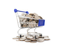 Mini shopping cart with coins Royalty Free Stock Photo