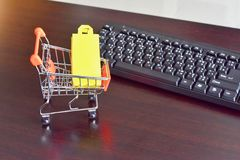 Mini Shopping Cart with Keyboard stock image