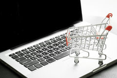 Mini Shopping Cart On Laptop med filtrerad process Royaltyfria Bilder