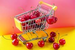 Mini shoppingcart avec les cerises mûres rouges Images stock
