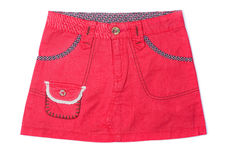 Mini skirt. Pink denim mini skirt isolated isolated on white Stock Image