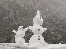 Mini Snowman Couple fotografia de stock royalty free