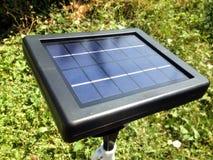 Mini solar cells head up to sun light Stock Photo